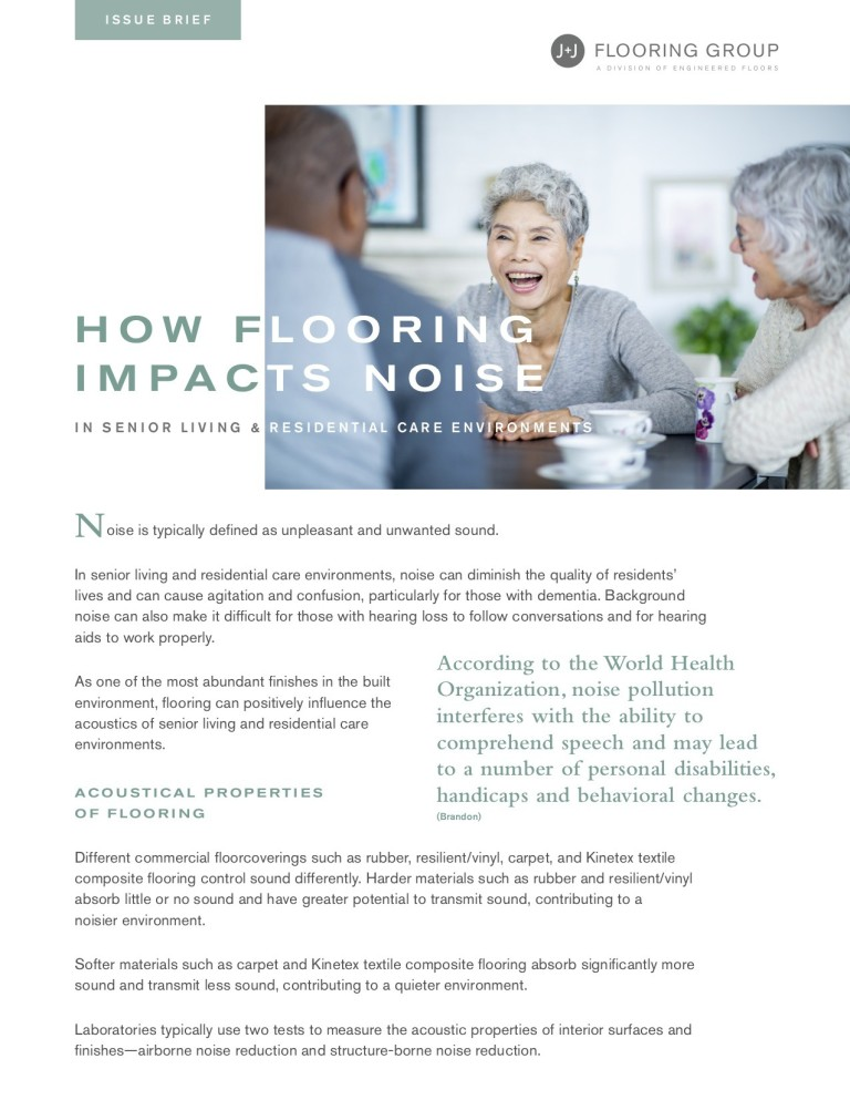 Flooring and Noise Senior Living Issue Brief